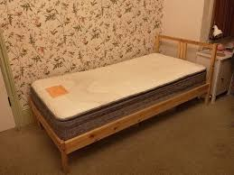 single bed ikea wood frame with mattress good condition