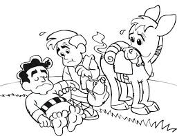 Small Picture Cartoon of Good Samaritan Story Coloring Page NetArt