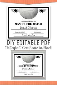 volleyball certificate template editable pdf sports team volleyball certificate diy award template