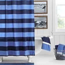 rugby stripe shower curtain navy blue