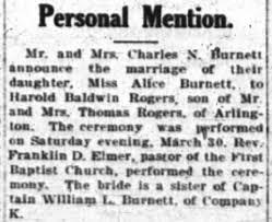 Alice Burnett marries Harold Baldwin Rogers - Newspapers.com