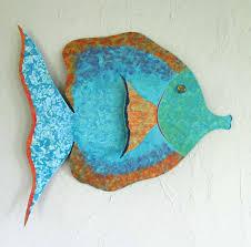 large fish bathroom art metal wall