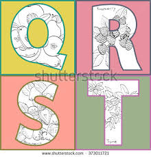 stock vector vector illustration of fruits and spices inside of letters letters q r s t quince raspberry