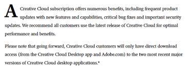 Adobeがcreative Cloud内のphotoshoppremiere等の一部旧バージョンを
