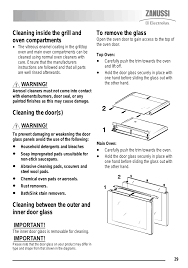 cleaning inside the grill and oven compartments cleaning the door s cleaning between the outer and inner door glass zsi zkc6020 user manual page