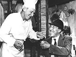 photo noir et blanc de fernandel et bourvil dans le film la cuisine au beurre