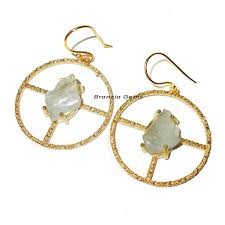 B Modern Costume Designer Aquamarine B Modern Trend Fashion Costume Designer Earrings With Gold