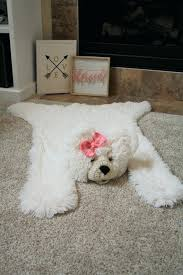 image 0 faux polar bear rug with head small blanket white