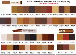 colour chart for wax putty bricks wax filler sticks furniture