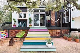 Image Tiny House Bohemianstyle Home In Austin Tx Tiny House Talk 400 Sq Ft Bohemianstyle Small House On Wheels