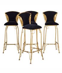 set of 4 gilt metal italian cobra chairs 1970s set bar stools62