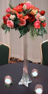 ... Stunning Table Centerpiece Decoration Using Flowers For Tall Vases :  Good Looking Orange And Red Rose ...