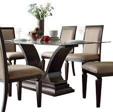 homelegance plano rectangular glass dining table with u shaped base