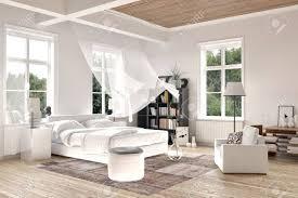Helle Weiße Luxus Gemacht Schlafzimmer Interieur Mit Blasen Vorhänge