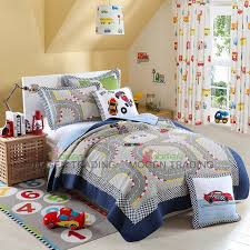 CHAUSUB Cute Kids Quilt Set 2PCS Washed Cotton Quilts Racing Car ... & CHAUSUB Cute Kids Quilt Set 2PCS Washed Cotton Quilts Racing Car Printed  Bed Cover Sheets Pillow Adamdwight.com