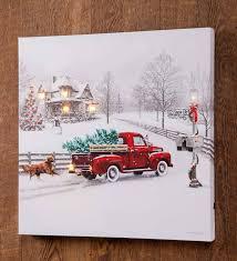 Lighted Christmas Artwork Lighted Christmas Truck Canvas Wall Art Plowhearth