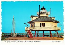 Hooper Strait Light St Michaels Md Hooper Strait Light 1970s Lighthouse Postcard