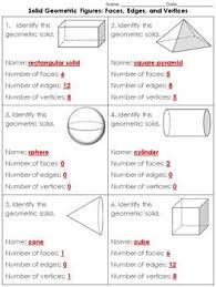 Solid Figures Faces Edges Vertices Chart Edges Faces And Vertices Worksheet Teachers Pay Teachers