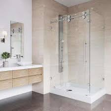 winslow 48 125 in x 79 875 in frameless bypass shower enclosure in stainless steel and