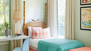 In This Pool House Bedroom, Designer Kevin Isbell Layered Coastal Hues,  From Soft Blues