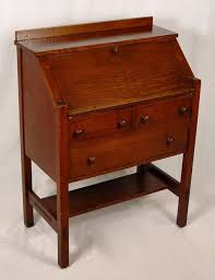 l jg stickley arts and crafts drop front writing desk oak slant front desk interior pigeon holes exterior has two drawers over one full length drawer