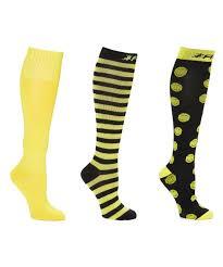 Fitdio Black Yellow Stripe 15 20 Mmhg Compression Knee High Socks Set Women
