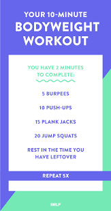 Power Of 10 Workout Chart 10 Minute Workout 10 Quick Total Body Workouts You Can Do