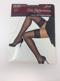 Hanes Thigh Highs Size Chart Hanes Silk Reflections Lace Top Thigh High Barely Black