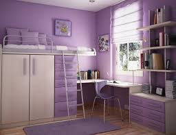 bedroom design for teenagers with bunk beds. Cute Small Bedroom Design With Purple Color Scheme And Bunk Bed Space Saving Furniture For Teenagers Beds