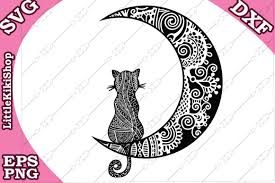 This free svg cut file comes in a single zip file with the following file formats: Cat And The Moon Graphic By Littlekikishop Creative Fabrica