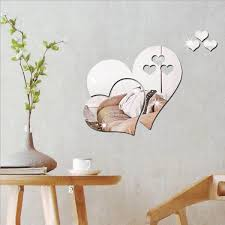 love heart wall sticker diy mirror 3d decal decorations for home above table
