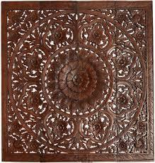 large square wood carved fig leaf lotus