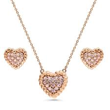 rose gold flashed sterling silver cable heart fashion necklace and earrings set vs55 berricle