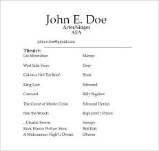 Actress Sample Resumes Cool Gallery Of Sample Acting Resume 48 Documents In Pdf Word Actor