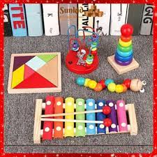 Hot ] Combo đồ chơi gỗ đồ chơi thông minh phát triển trí tuệ cho bé 5 món  đàn, sâu, tháp, luồn, tangram tốt giá rẻ