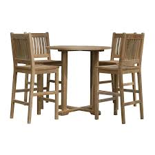 anderson teak avalon 5 piece tan wood frame bistro patio dining set