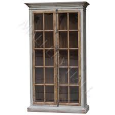 reclaimed distressed grey two glass door cabinet