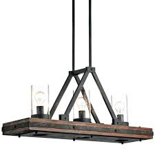 rustic wood iron chandelier classic pewter 3 light wide linear distressed white orb
