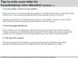 Room Attendant Cover Letter 4 Tips To Write Cover Letter For