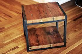 custom made reclaimed wood steel side table