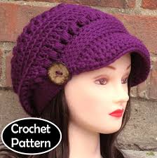 Crochet Newsboy Hat Pattern Enchanting CROCHET HAT PATTERN Instant Download Pdf Brooklyn Newsboy Brimmed