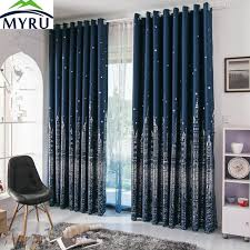 MYRU Mediterranean navy blue curtains rural silver and gold castle printed  blackout curtians for living room