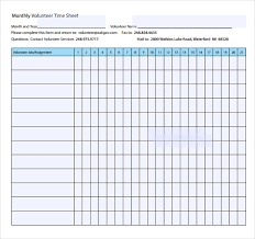 Monthly Time Card Template 18 Volunteer Timesheet Templates Free Sample Example Format