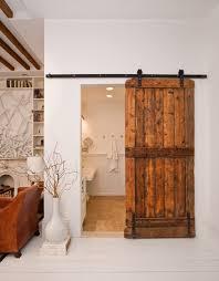 sliding barn door rustic bathroom