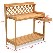 Amazon.com: go2buy Wood Potting Bench Outdoor Garden Planting Work Station  Table Stand Natural Finish: Garden & Outdoor