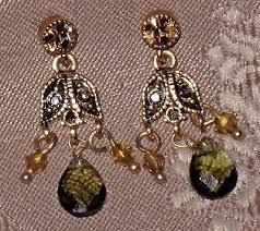 vintage monet crystal bead gold tone dangle chandelier earrings