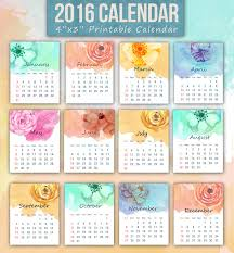 free printable 12 month calendar a set of printable 12 month mini 2016 calendar featuring watercolor