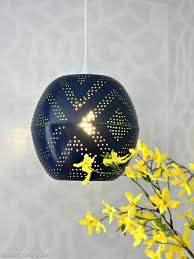 navy blue pendant lights dumound west elm inspired perforated globe lamp mad in crafts home ideas