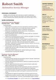 Automotive Service Manager Resume Automotive Service Manager Resume Samples Qwikresume