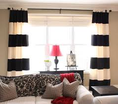 Rugs & Curtains: Affordable Horizontal Stripes Black And White Living Room  Curtain Design With Accent